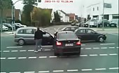 Tough guy meets instant justice on road