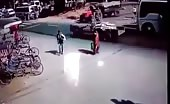 Tractor runs over a pedestrian in india