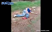 Drunk man attempting loses his foot to a passing train