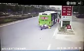 Four idiots on scooter crashes into bus 8