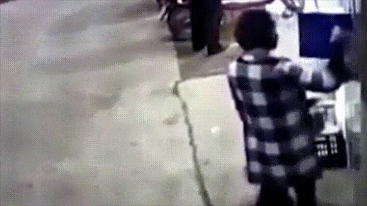 A mother and her child crushed by a rack of lockers, killing the boy