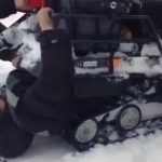 A man unharmed after being sucked into a snowmobile 3