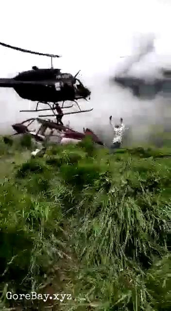 Man sliced by a helicopter in a rescue attempt