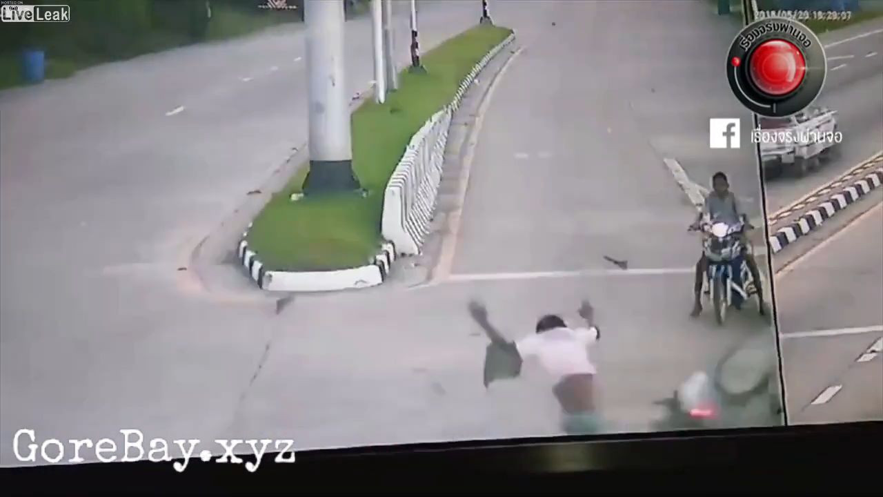 Bikers get hit by a car that tries to avoid another biker 4
