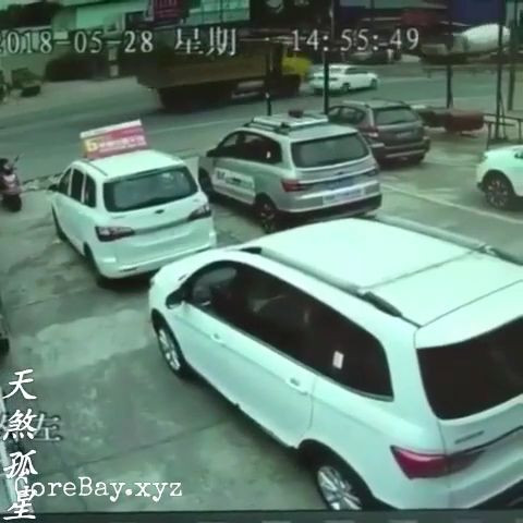 Car slowly crushed by a truck