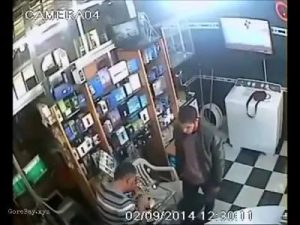 Store owner stabbed in neck