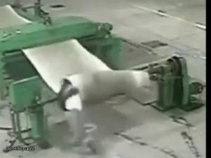 Rolling machine pulls and spins a worker