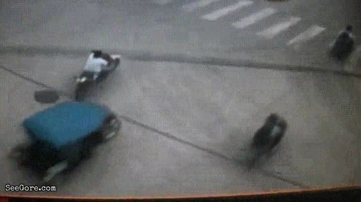 Woman on scooter pushed and crushed by a truck 13