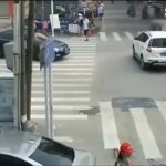 A woman tries to go straight but a truck turns over her 3