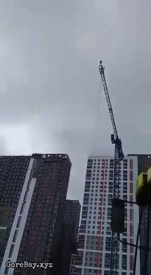 Jumping off a construction crane