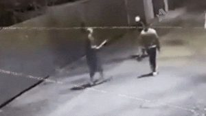 Drunk bully charges a guy with a rifle