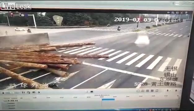 Man dies when a load of telephone poles overturns and rolls over him 12