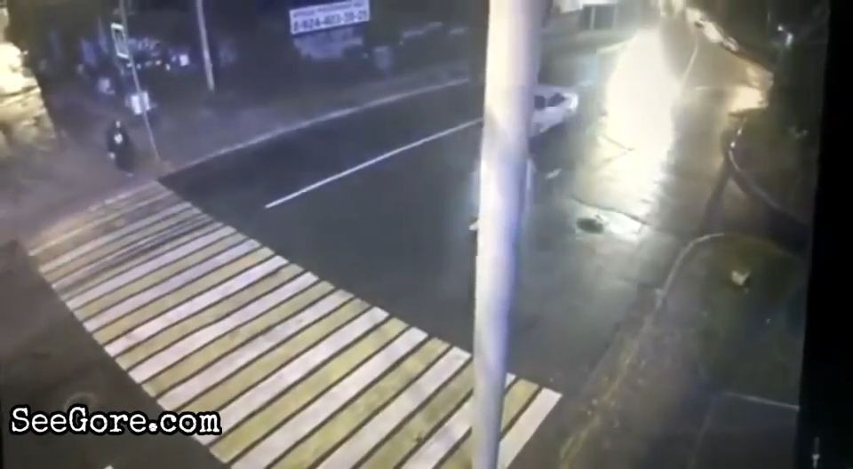 Woman on crosswalk wiped out by a speeding car 4