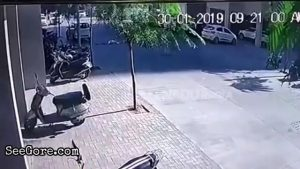 Impact of a woman falls from a tall building