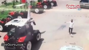 Salesman squashed by a tractor in a test drive