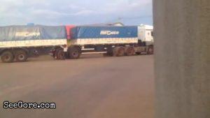 Truck flattens a woman super flat