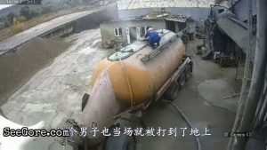 Pressurized tanker leaks and blows a man away