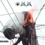 Living man burning on electric cables 3