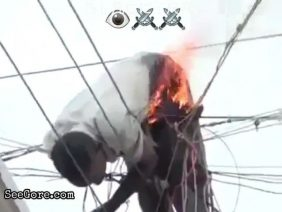 Living man burning on electric cables