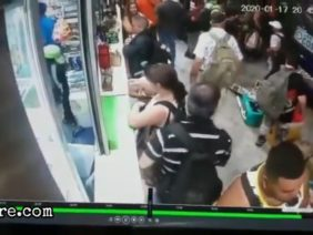 Bus crushes people to the wall
