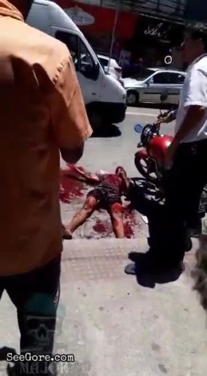 Man dying in a pool of blood
