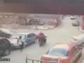 Bikers get hit by a car at junction