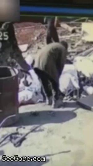 Scrap collector grabs an explosive