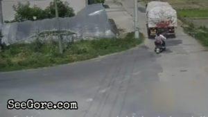 Careless truck driver rolls over biker with passenger