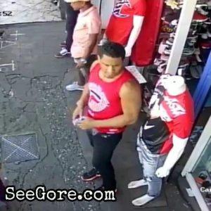 A stranger unexpectedly hacks 2 guys with a machete