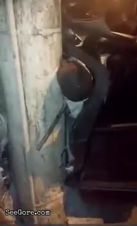 Man stuck between his car and a pole making weird noise 2