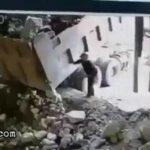 Big boulder falls onto a man 2