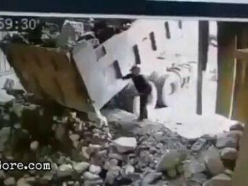 Big boulder falls onto a man 6